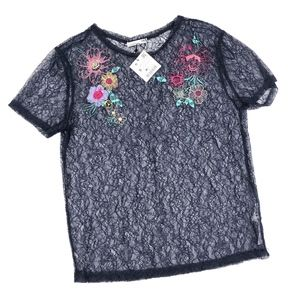 Zara | Sheer Navy Lace Flower Embroidered Tee